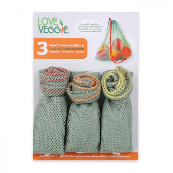 Love Veggie Einkaufsbeutel 3er-Set