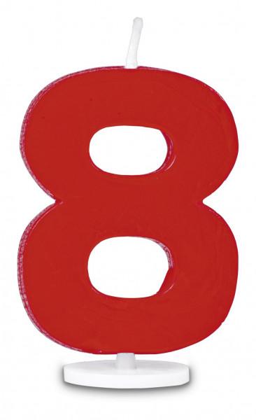 Städter Minikerze Zahl 8 rot