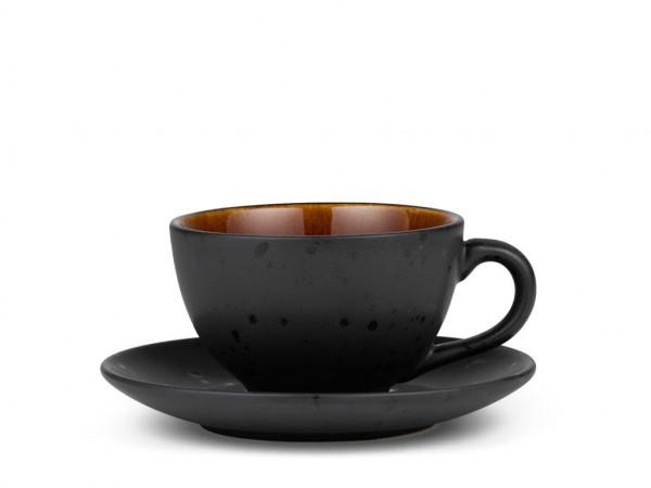 Bitz Tasse mit Untertasse schwarz / bernstein 0,22 l