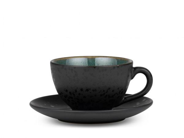 Bitz Tasse mit Untertasse schwarz / grün 0,22 l