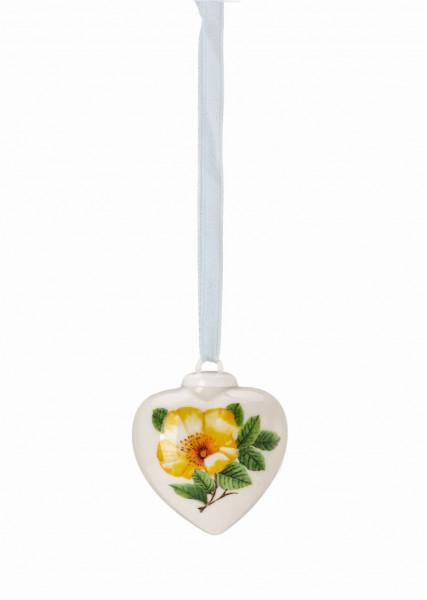 Hutschenreuther Frühlingsgrüsse Heckenrose gelb Porzellan-Mini-Herz
