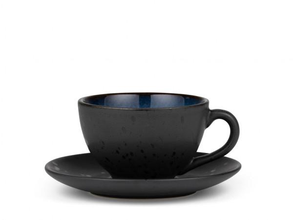 Bitz Tasse mit Untertasse schwarz / blau 0,22 l