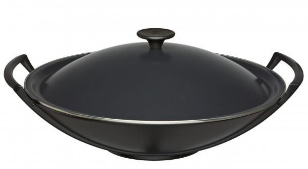 Le Creuset Gusseisen Wok 36 cm mit Deckel schwarz