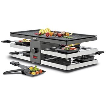 Spring Raclette 8 Fun Schwarz mit Alu-Grillplatte